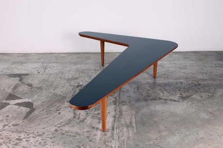 Boomerang Table by XXe Siecle, Oak wood and Formica top available in different colors, L 195 W 135 H 40 cm