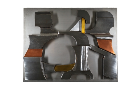 Panel in brushed steel, brass and copper by Roger DESSERPRIT (1923-1985)