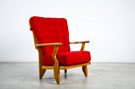 Pair of armchairs by Guillerme and Chambron, France, circa 1950, L 78 W 64 H 94 cm