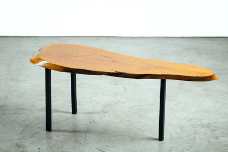 Free-Form Table in solid wood and metal, France, circa 1950, L 114 W 38 H 45 cm