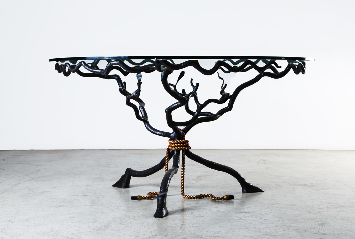 French Dining Table, Hammered Iron, circa 1940, Dim: Dia 140 H 75 CM
