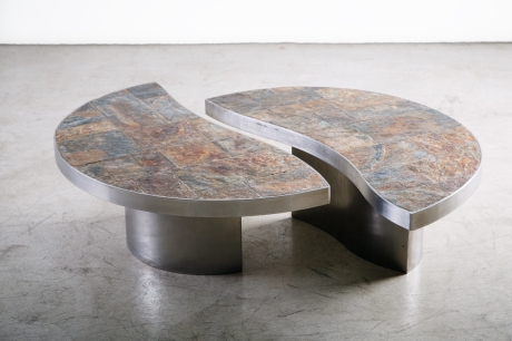 Pair of steel and slate low tables, Italy, circa 1970, Dim: Dia 108 H 34 cm