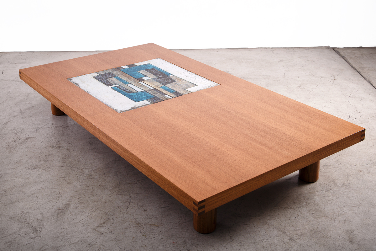 type of wood furniture. Table Les 2 Potiers, French Oak And Ceramics,W220xD120xH36cm Type Of Wood Furniture