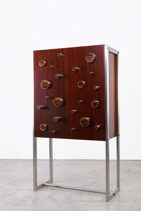 Bar in mahogany, rosewood and stainless steel, mirrored interior, unique piece, designed by XXe Siecle, L 95 W 47 H 172 cm
