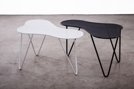 Perforated  Iron Tables by XXe Siècle, L 77 W 39 H 40 cm