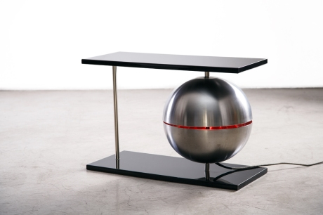 Pair of end tables by Beirt Enderson with luminous spheres in brushed steel, 1980, L 69.5 W29.5 H43.5 cm
