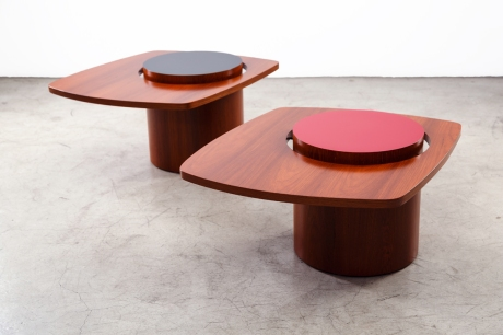 Pair of teak wood side tables, Canada, 1950