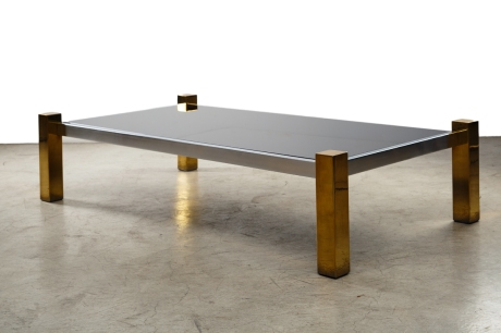 Coffee table in chrome and brass, rectangular glass table top, 1960, L 176 W 94 H 43 cm