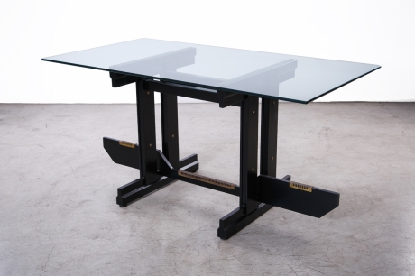 Desk or Console in blackened wood by Gianfranco Frattini, Italy, circa 1950, L 150 W 80 H 75 cm
