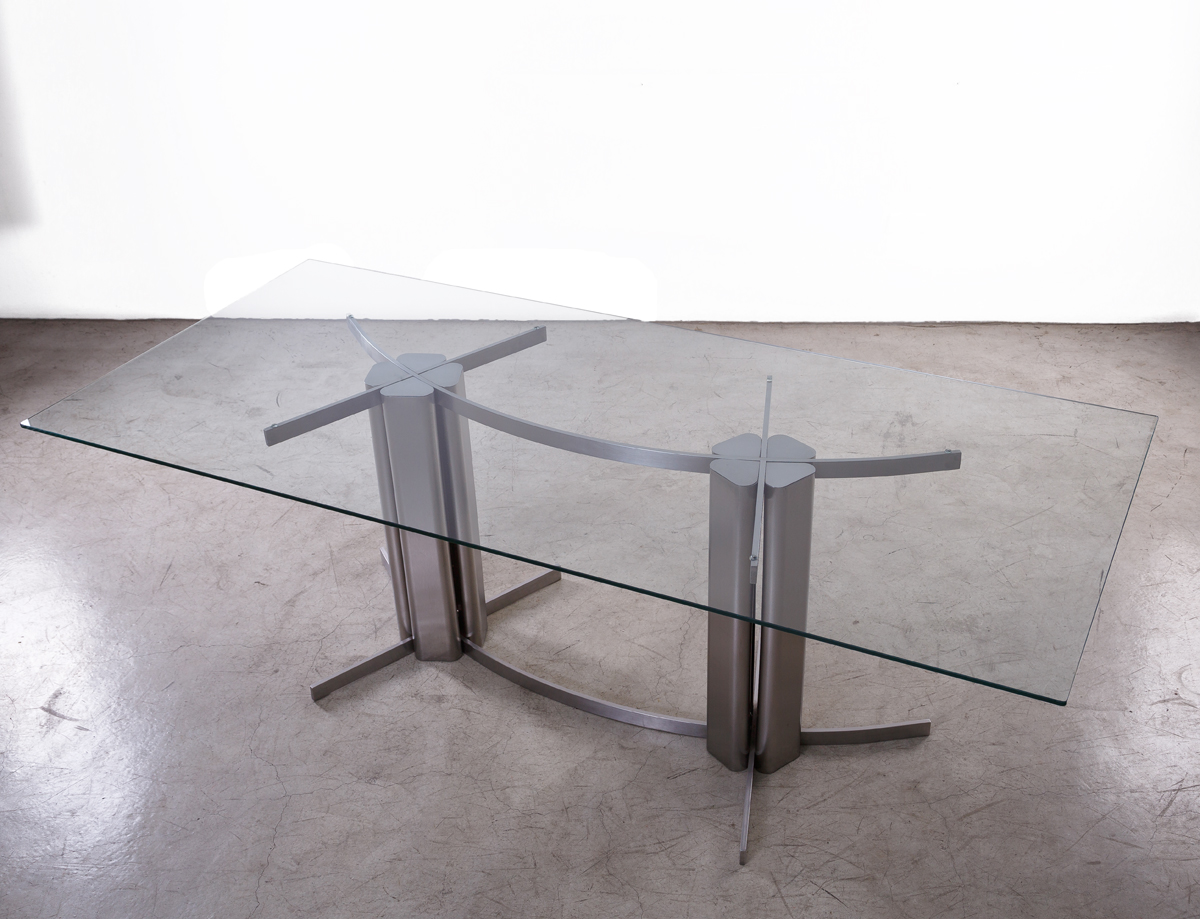 Scandinavian Console in Stainless Steel circa 1970. L 220 W 100 H 75 CM