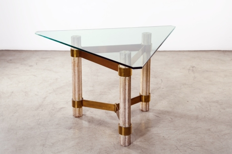 Gueridon in Comblanchien and bronze - triangular top in Crystal – designed by Jaques Grange - France circa 1970 Dim: L 136 H 78 cm