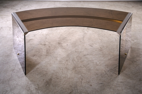 Gallotti & Radice President Desk, Glass and Brass, Italy, 1971, L105/167 cm - D 66 cm - H 74 cm.