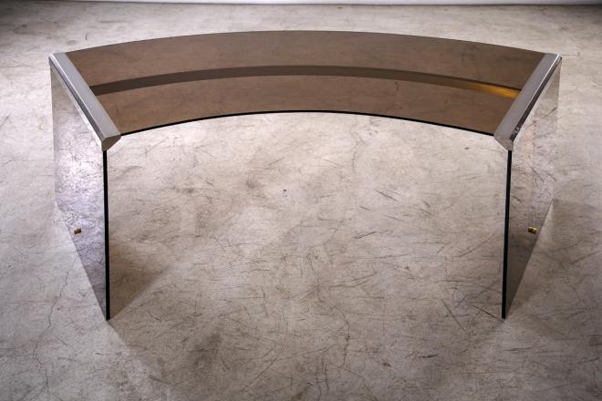 Gallotti & Radice President Desk, Glass and Brass, Italy, 1971, L105/167 cm - D 66 cm - H 74 cm.