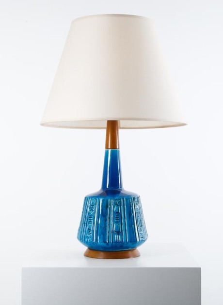 Pair of Ceramic lamps by Bitossi, Italy, 1950, H 75 cm