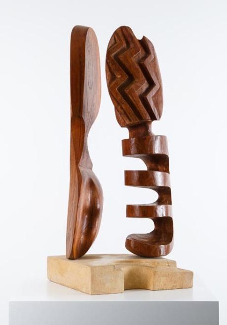 Olive tree wood sculpture, France, 1950, H 71 cm