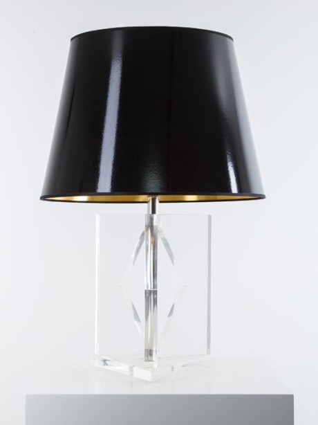 Table lamp in Plexiglas and varnished black shade, 1970, H 73 cm