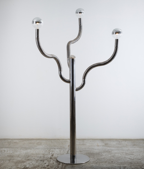 Reggiani Floor Lamp, chromed metal, Italy circa 1970. H 165 cm