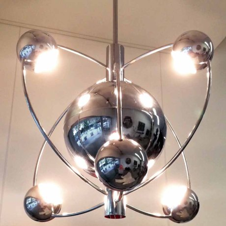 Saturn Chrome-plated Chandelier, France, c. 1970, H 115 W 60 cm