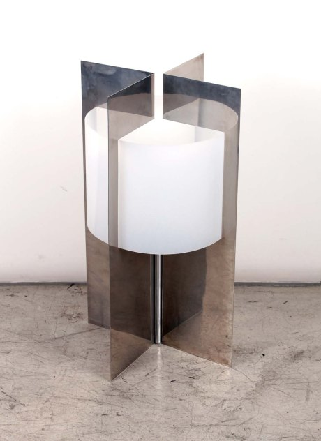 Lamp by Bigot, France, 1970,steel and plexiglass, 62 cm