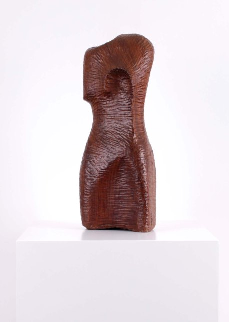 Wooden bust sculpture, 1950, France, signed FP