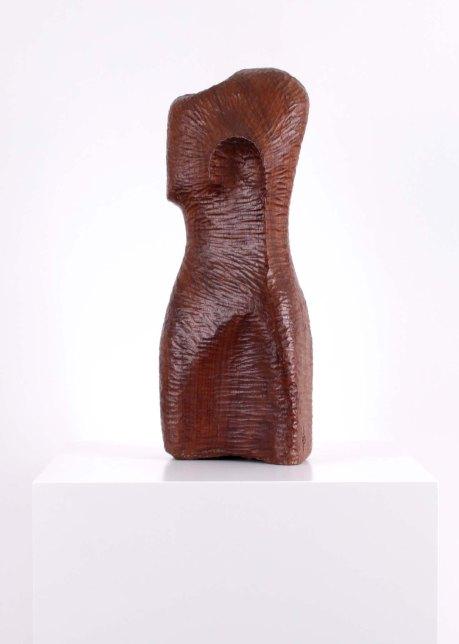 Wooden bust sculpture, 1950, France, signed FP