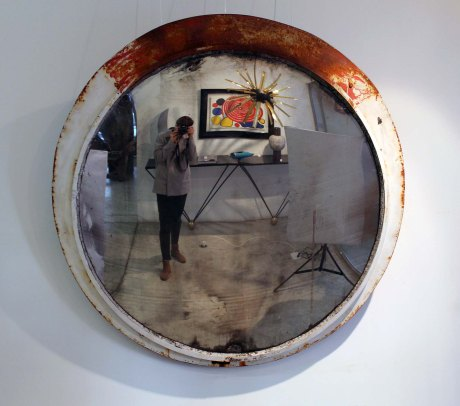 Pair of Industrial Mirror, France, 1950, DIA 140 cm.