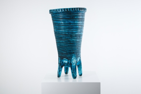 turquoise ceramic vase by Accolay France circa 1950. H 64.5 DIA 32 CM