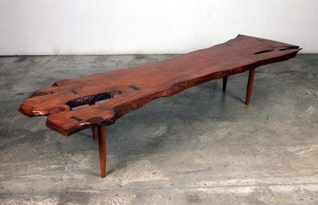 Walnut wood bench, USA, 1950, L 220 W 60 H 40 cm