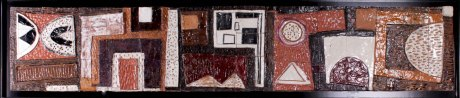 vintage ceramic panel signed Schiavone, Italy, 1950, 62 x 285 cm