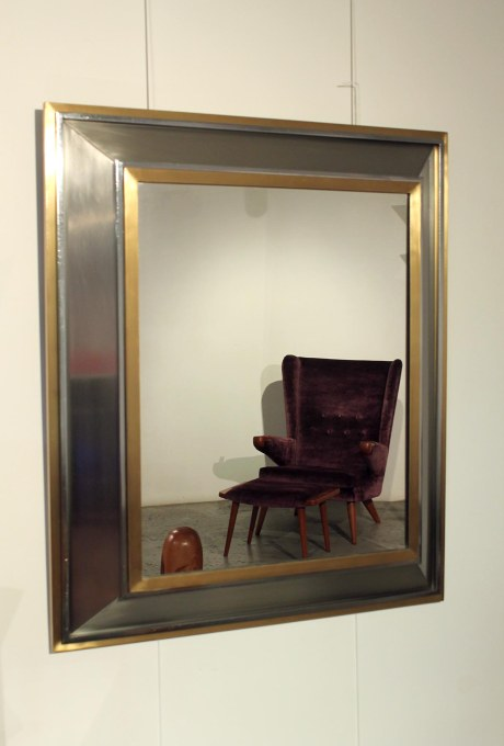 Iron and brass mirror by Jansen Decoration, 1970
