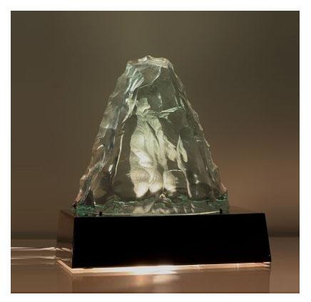 Sculpted Glass Lamp designed by Vicke Lindstrand for Kosta Boda, circa 1950, Sweden. L26 cm W 13 cm H 26 cm