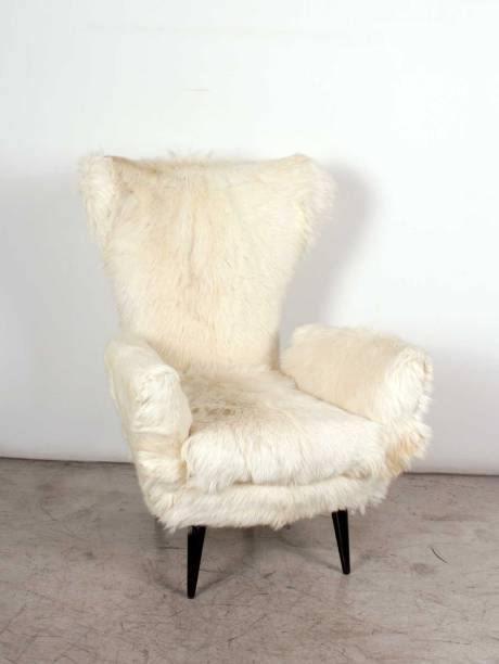 Pair of Goat Fur Armchairs, circa 1950, Italy.